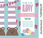 slumber party invitation card.... | Shutterstock .eps vector #718908139