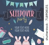 slumber party invitation card.... | Shutterstock .eps vector #718908151
