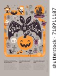 holiday happy halloween flyer... | Shutterstock .eps vector #718911187