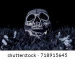 halloween dark night scene with ... | Shutterstock . vector #718915645