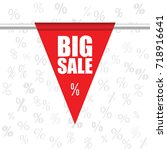 big sale icon in red color... | Shutterstock .eps vector #718916641