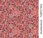 paisley seamless pattern with...   Shutterstock .eps vector #718917361