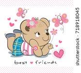 Happy Cute Teddy Bear Girl In...