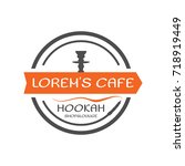 hookah label  badge. vintage... | Shutterstock .eps vector #718919449