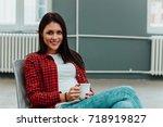 portrait of beautiful woman in... | Shutterstock . vector #718919827