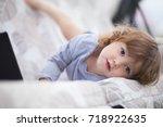 blond curl hair little girl...   Shutterstock . vector #718922635