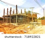 building site with new homes... | Shutterstock . vector #718922821