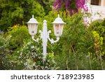 street light lantern plaited... | Shutterstock . vector #718923985