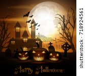 halloween background with... | Shutterstock . vector #718924561