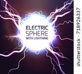 elecktric sphere light effect... | Shutterstock .eps vector #718926337