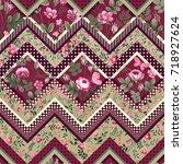decorative seamless patchwork... | Shutterstock .eps vector #718927624