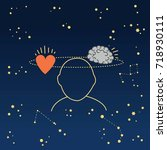 man meditating for analytical... | Shutterstock .eps vector #718930111