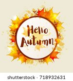 round vector autumn banner with ... | Shutterstock .eps vector #718932631