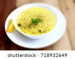 chicken soup is a soup made... | Shutterstock . vector #718932649