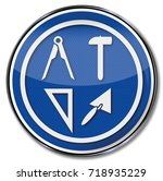 guild shield mason and building ... | Shutterstock . vector #718935229