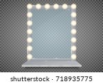 mirror in frame with light... | Shutterstock .eps vector #718935775