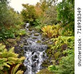 Small photo of Water feature in the Chinese Garden at the Royal Botanic Gardens, Inverleith, Edinburgh, Scotland, Great Britain. September 2017