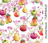pattern with hand drawn... | Shutterstock . vector #718940419