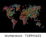 abstract hatched world map with ... | Shutterstock .eps vector #718941631