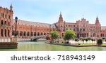 plaza de espana  spain square ... | Shutterstock . vector #718943149