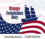 columbus day  the discoverer of ... | Shutterstock .eps vector #718943341