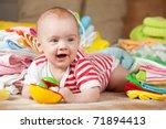 happy baby girl with heap of... | Shutterstock . vector #71894413