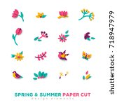 summer and spring cute paper... | Shutterstock .eps vector #718947979