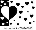 heart black and white... | Shutterstock .eps vector #718948069