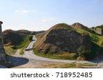 old fortress  inner courtyard... | Shutterstock . vector #718952485