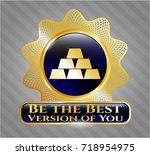 gold shiny badge with gold... | Shutterstock .eps vector #718954975