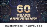 60 years anniversary vector... | Shutterstock .eps vector #718957555
