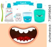cartoon mouth and tools for... | Shutterstock .eps vector #718958065