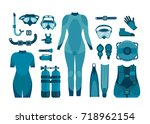 collection of scuba diving on a ... | Shutterstock .eps vector #718962154