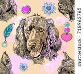 beautiful hand drawn vector... | Shutterstock .eps vector #718963765