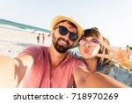 close up portrait of  travel... | Shutterstock . vector #718970269