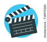 clapperboard icon vector... | Shutterstock .eps vector #718970281