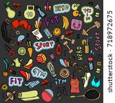 sports hand draw icon and... | Shutterstock .eps vector #718972675
