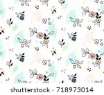 floral pattern with small... | Shutterstock .eps vector #718973014