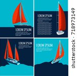 yacht club flyer design with... | Shutterstock .eps vector #718973149