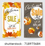 autumn sale flyer two with...   Shutterstock .eps vector #718975684