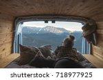 woman in a camper van enjoying...