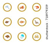 water wildlife icons set.... | Shutterstock .eps vector #718979359