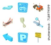road sign icons set. cartoon... | Shutterstock .eps vector #718979599