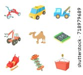 carriage icons set. cartoon set ... | Shutterstock .eps vector #718979689