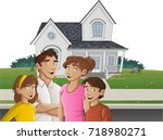 cartoon family in front of a... | Shutterstock .eps vector #718980271