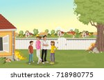 cartoon family in suburb... | Shutterstock .eps vector #718980775
