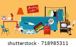 moving yard sale with household ... | Shutterstock .eps vector #718985311