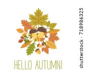 hello autumn illustration with... | Shutterstock . vector #718986325