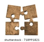 brown pieces of puzzle stand... | Shutterstock . vector #718991821