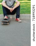 unrecognizable hipster man with ... | Shutterstock . vector #718993291